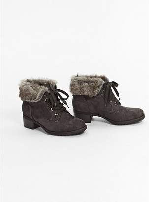 Evans Extra Wide Fit Grey Cuff Lace Up Ankle Boots