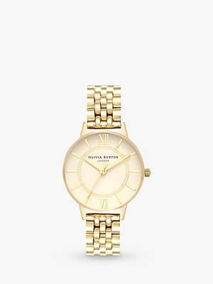 Olivia Burton OB16WD69 Women's Wonderland Bracelet Strap Watch, Gold/White