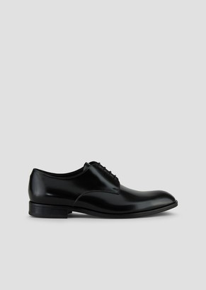 Emporio Armani Lace-Up Derby In Abraded Leather With A Rubber Sole