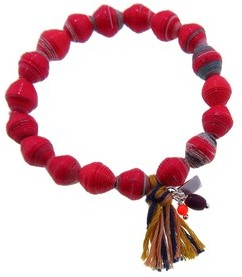 Chan Luu Mixed Paper Bead Stretch Bracelet - Red