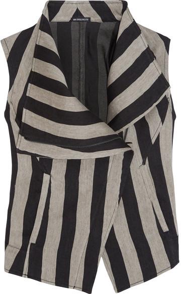 Ann DemeulemeesterAnn Demeulemeester - Printed Striped Linen-blend Vest - Black