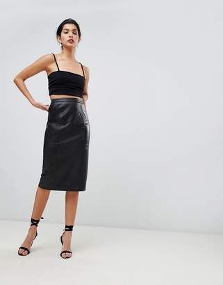 Asos DESIGN midi pencil skirt in leather