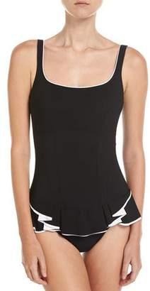 Profile by Gottex Belle Curve Scoop-Neck Peplum One-Piece Swimsuit, Black $138 thestylecure.com