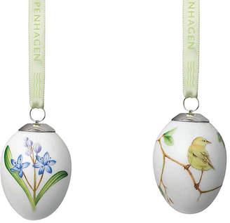 Royal Copenhagen Scilla & Warbler Easter Egg Ornaments - White
