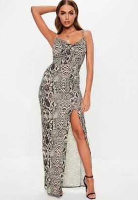 Missguided Gray Snake Print Thigh Split Cowl Neck Maxi Dress