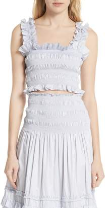 Rebecca Taylor Smocked Sleeveless Cotton Top