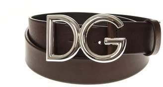 Dolce & Gabbana Dark Brown Calf Leather Logo Belt