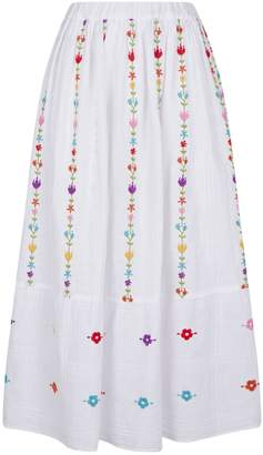 120% Lino 120 Lino Embroidered Floral Skirt