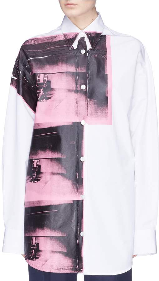 CALVIN KLEIN 205W39NYC 'Little Electric Chair' print oversized shirt
