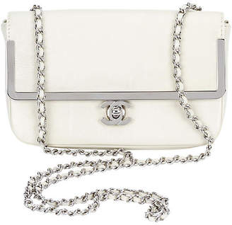 One Kings Lane Vintage Chanel Milky White Patent Cross-Body Bag - Vintage Lux