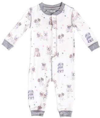 PJ Salvage Boy's Bulldog Print Jersey Sleep Romper, Size 3-18 Months