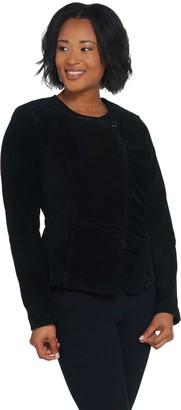 Isaac Mizrahi Live! Asymmetric Ruffle Suede Jacket