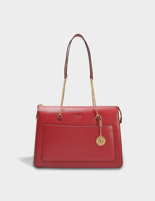 DKNY Sutton Large Top Zip Tote Bag in Scarlet Textured Leather
