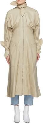 Zimmermann 'Tempest' detachable scarf tie zip leather corset dress