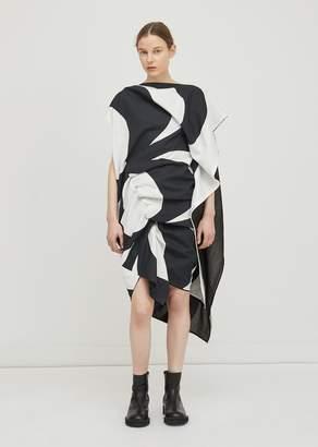 Junya Watanabe Cotton Ramie Lawn Kaivo Dress White/Black x Black