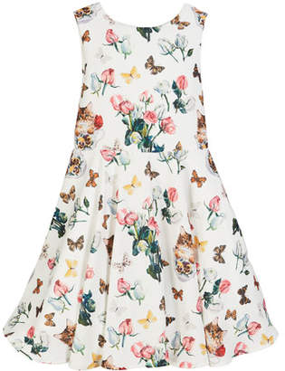 Charabia Mixed Floral Print Sleeveless Dress, Size 5-8