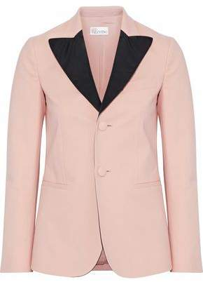 RED Valentino Satin-Trimmed Cotton-Blend Blazer