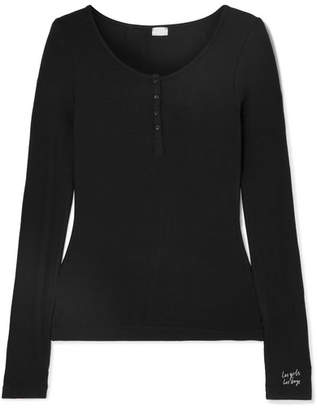 Les Girls Les Boys - Embroidered Ribbed Stretch-jersey Pajama Top - Black