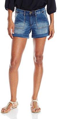 Buffalo David Bitton Women's Faith Mid Rise Roll Cuff Blue Jean Shorts $36.95 thestylecure.com