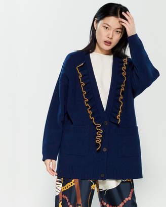 Alysi Ruffled Long Sleeve Wool-Blend Cardigan