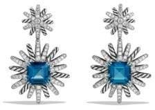David Yurman Topaz, Diamonds& Sterling Silver Starburst Drop Earrings