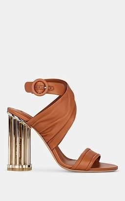Salvatore Ferragamo Women's Teana Flower-Heel Leather Sandals - Brown
