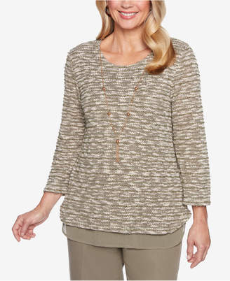 Alfred Dunner Petite Autumn in New York Layered-Look Necklace Sweater