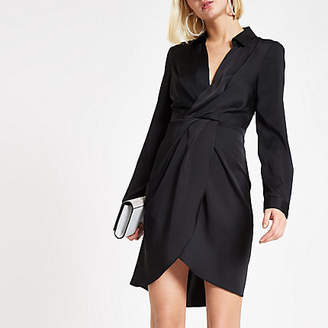 River Island Black wrap front shirt dress