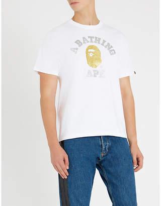 A Bathing Ape Glitter-logo cotton-jersey T-shirt