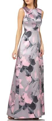 Kay Unger Floral Print Satin Gown