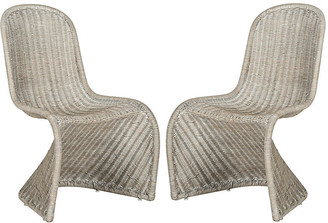 One Kings Lane Set of 2 Tana Wicker Side Chairs - Antiqued Gray