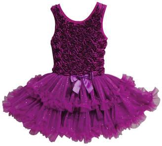 Popatu A Dark Purple Colored Ruffle Petti Dress For Your Little Girl