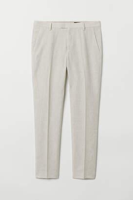 H&M Slim Fit Linen Suit Pants - White