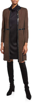 Misook Petite Long Jacket with Faux Leather Trim