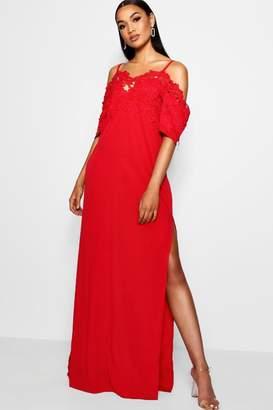 boohoo Tall Crochet Lace Trim Maxi Dress