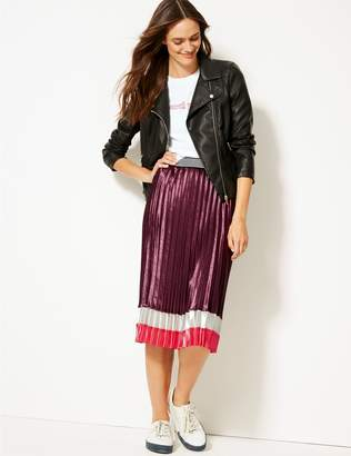 Marks and Spencer Colour Block Satin Pleated Midi Skirt