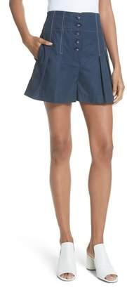 Rebecca Taylor Topstitch Cotton Linen Shorts