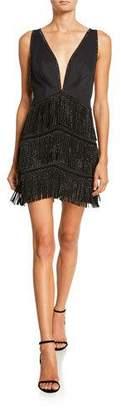 SHO Beaded Fringe Deep V-Neck Sleeveless Mini Cocktail Dress
