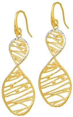 Italian Silver Two-Tone Spiral Dangle Earrings