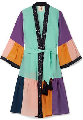 Figue Nisha Sequin-embellished Color-block Silk Crepe De Chine Kimono - Turquoise