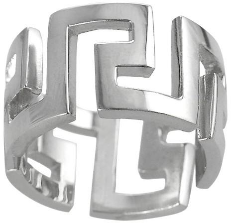 Sterling Silver Greek Key Ring - Silver