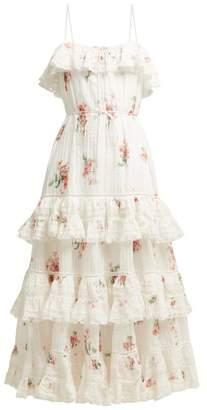 Zimmermann Heathers Floral Print Tiered Cotton Midi Dress - Womens - White Multi