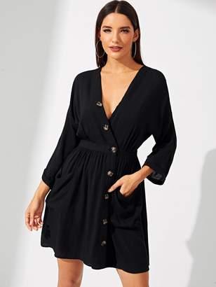 SheinShein Asymmetric Buttoned Placket Plunging Dress