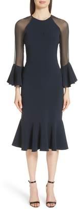 Sachin + Babi Sheer Ruffle Sleeve Cocktail Dress