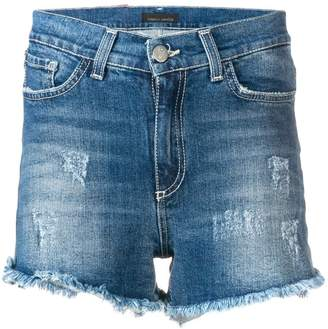 Frankie Morello frayed mid rise denim shorts