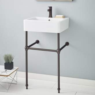 """CheviotProducts Nuovella Ceramic 20"""" Console Bathroom Sink with Overflow"""