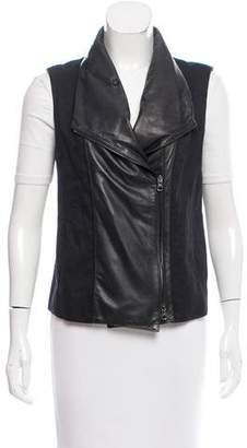 Vince Leather-Paneled Linen-Blend Vest