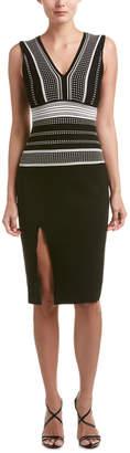 RVN Grid Textured Jacquard Sheath Dress
