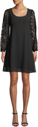 Nanette Lepore Nanette Pleated Lace-Sleeve A-line Dress