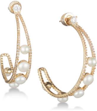 """Carolee Gold-Tone Crystal & Freshwater Pearl 1 1/2"""" Open Hoop Earrings"""